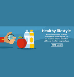 healthy lifestyle banner horizontal concept vector image