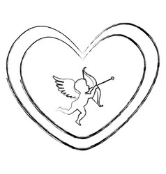 Heart love card with cupid angel vector