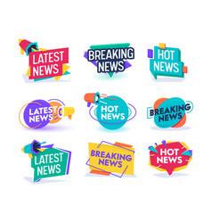hot latest news daily update badge template set vector image