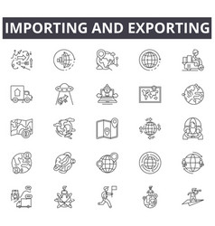 Importing and exporting concept line icons signs vector