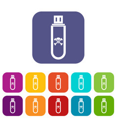 Infected usb flash drive icons set vector