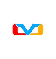 initial letter mv logo template design vector image