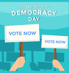 International democracy day with hands holding vector
