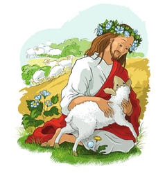 Jesus story parable lost sheep vector