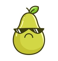 Kawaii angry sunglasses pear cartoon vector