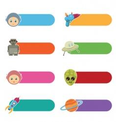 Kids sci-fi tabs vector