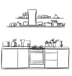 Kitchen interior drawing vector