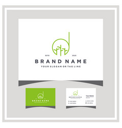 Letter d tree trunk logo design with business card vector