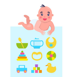 Lying on floor newborn with toys and dishware vector