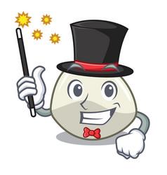 Magician mozzarella cheese isolated on mascot vector