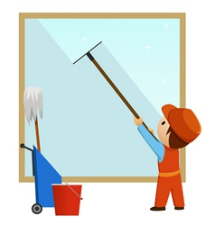 man cleaning and wash window vector image