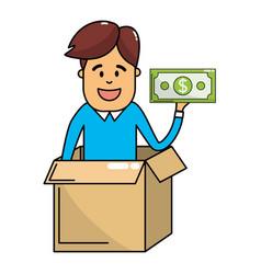 man saving money vector image
