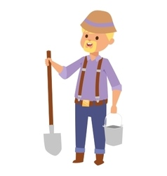 Man with shovel vector image