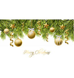 merry christmas white card with golden glitter vector image