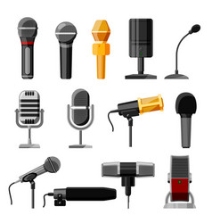 microphone audio dictaphone and microphones vector image