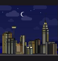 night cityscape flat skyscraper modern buildings vector image