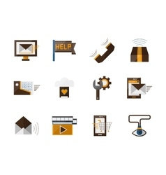 Online support flat color icons set vector image