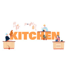 people cooking on kitchen concept male and female vector image