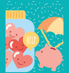 piggy with parachute and jar hearts love charity vector image