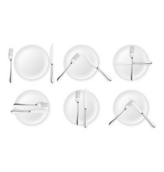 Realistic cutlery and signs of table etiquette vector