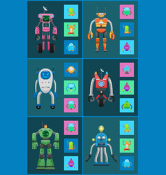 robotic creatures collection vector image