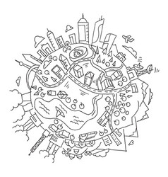 Round world planet earth the city vector