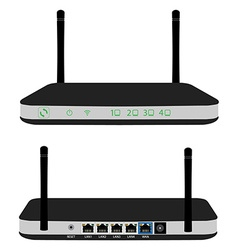 Router front and back view vector image