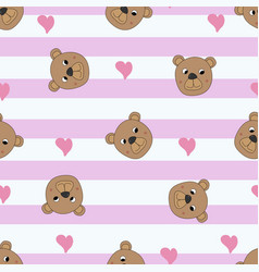 seamless pattern with cute bears vector image