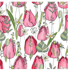 Seamless pattern with tulips and herbs endless vector