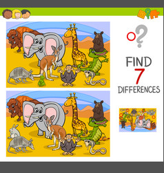 search differences game with wild animals vector image