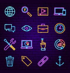 seo neon icons vector image
