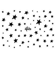 Set black hand drawn stars vector