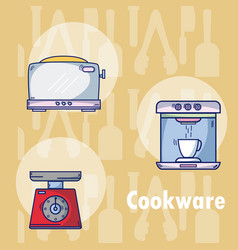 set of kitchen cookware utensils vector image