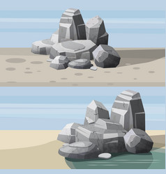 set of landscapes of desert rocks for games vector image
