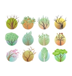 Set of Tree Round Icons vector image