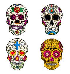 Set sugar skulls isolated on white background vector