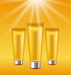 set sunscreen bottles and tubes of lotions vector image