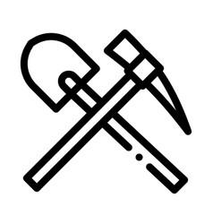 Shovel and pickaxe icon outline vector
