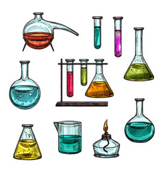 sketch ion of chemical beakers test vials vector image