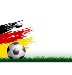 soccer ball on grass with paintbrush vector image