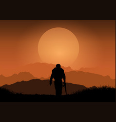 Soldier against sunset landscape vector