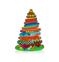 Stone pyramid ethnic ornament sketch for your vector