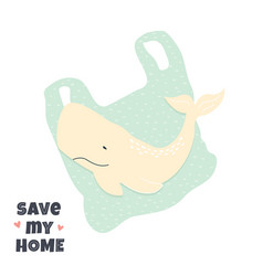stop ocean pollution banner with a cute whale vector image