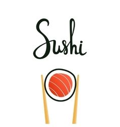 Sushi calligraphy hand drawn lettering vector