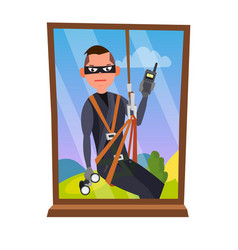 thief and window breaking into house vector image