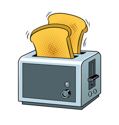 Toaster with toast pop art vector