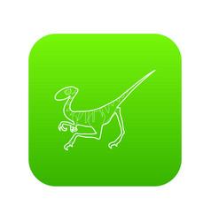 Velociraptor icon green vector