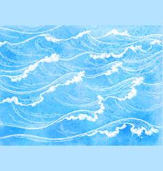 Watercolor sea waves vector