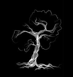 White tree on black background vector