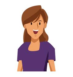 woman profile smiling cartoon vector image